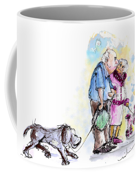 Sketch Coffee Mug featuring the painting People And Their Dogs 02 by Miki De Goodaboom