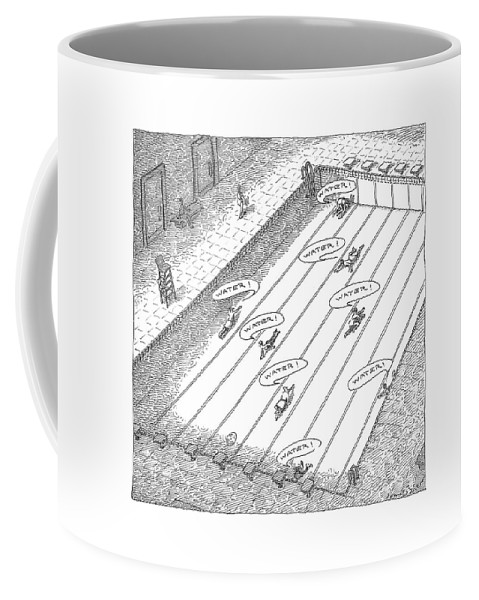 Desert Coffee Mug featuring the drawing People Crawl Along The Bottom Of An Empty by John O'Brien