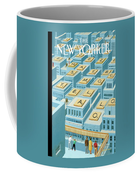 Skyline Coffee Mug featuring the painting People On A Roof Lookout Over Rooftops Which by Bruce McCall