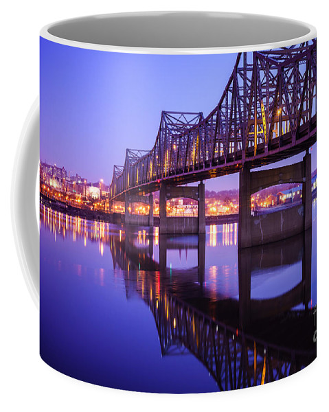 America Coffee Mug featuring the photograph Peoria Illinois Bridge At Night - Murray Baker Bridge by Paul Velgos