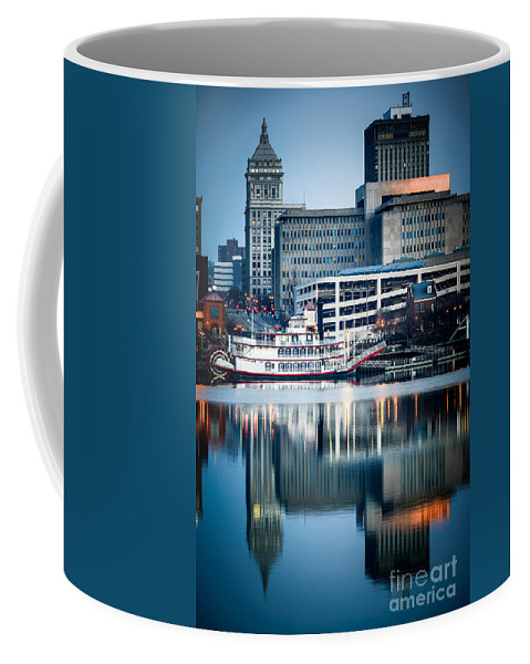 America Coffee Mug featuring the photograph Peoria Illinois Cityscape And Riverboat by Paul Velgos