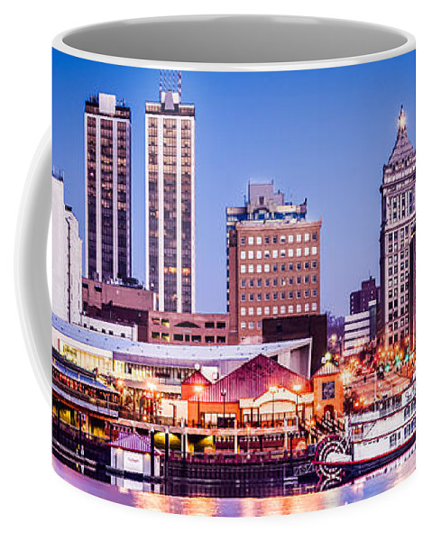 America Coffee Mug featuring the photograph Peoria Skyline At Night Panoramic Picture by Paul Velgos