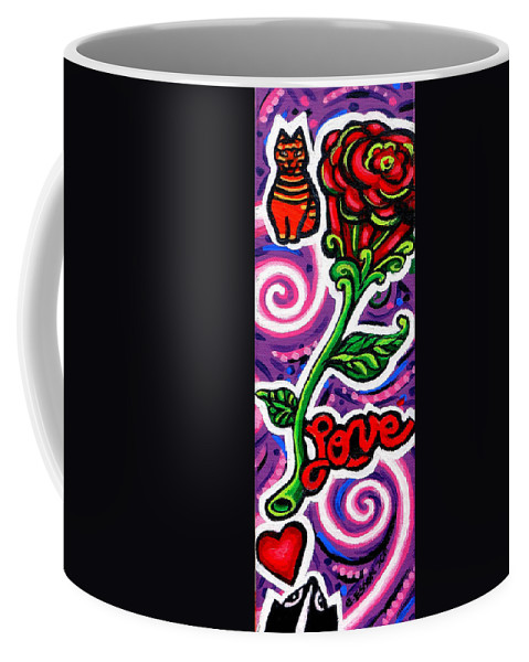 Pepe Coffee Mug featuring the painting Pepe Le Pew Loves Le Chat by Genevieve Esson