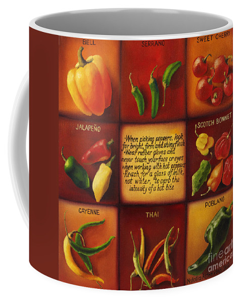Peppers Coffee Mug featuring the painting Pepper Facts by Natalia Astankina