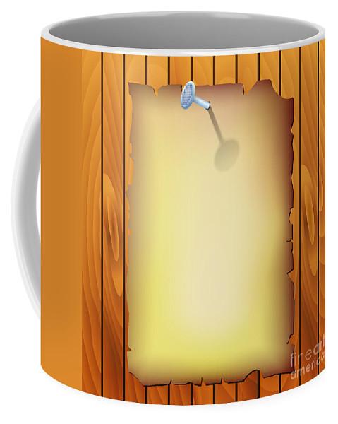Vector Coffee Mug featuring the digital art Pergamen On Wood Texture by Michal Boubin