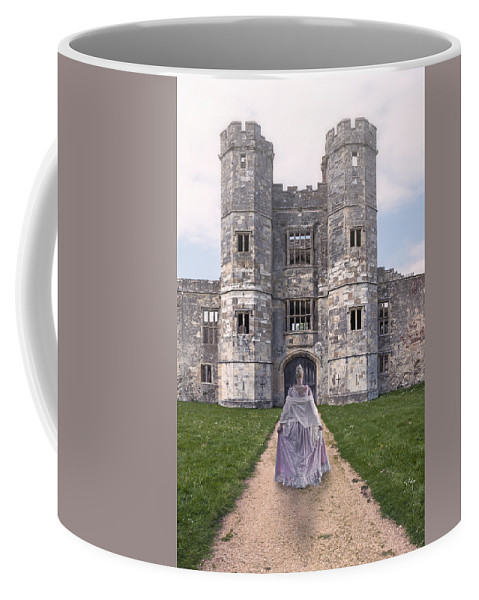 Woman Coffee Mug featuring the photograph Period Lady In Front Of A Castle by Joana Kruse