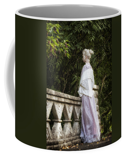 Woman Coffee Mug featuring the photograph Period Lady On Bridge by Joana Kruse