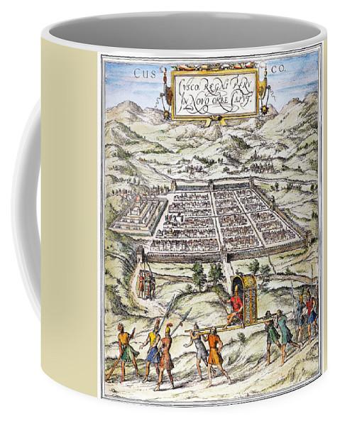 1572 Coffee Mug featuring the photograph Peru: Cuzco, 1572 by Granger