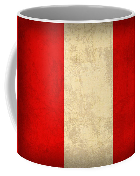 Peru Coffee Mug featuring the mixed media Peru Flag Vintage Distressed Finish by Design Turnpike