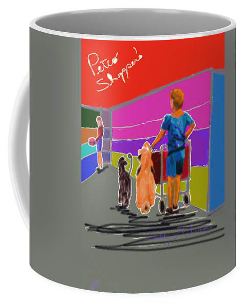 Ipad Coffee Mug featuring the painting Petco Shoppers by Terry Chacon