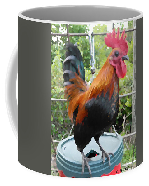 Old English Coffee Mug featuring the painting Petey The Old English Game Bantam Rooster by George Pedro