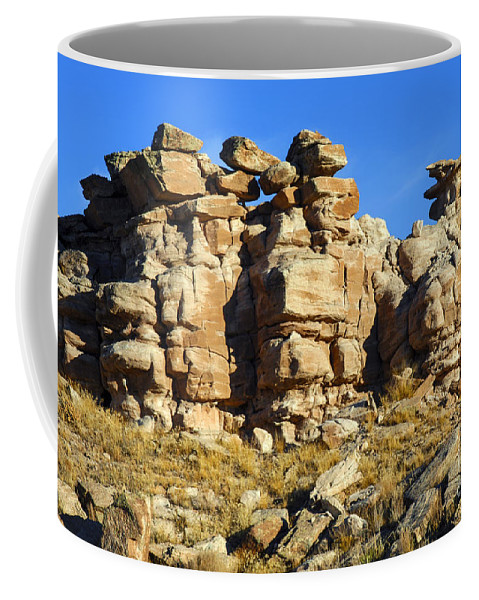 Petrified Forrest National Park Arizona Parks Rock Formation Stone Formations Sandstone Desert Deserts Desertscape Desertscapes Landscape Landscapes Coffee Mug featuring the photograph Petrified Forest Rock Formations by Bob Phillips