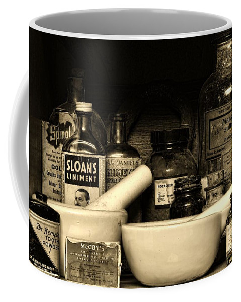 Paul Ward Coffee Mug featuring the photograph Pharmacy - Cod Liver Oil And More by Paul Ward
