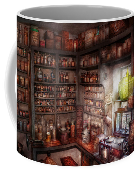 Doctor Coffee Mug featuring the photograph Pharmacy - Equipment - Merlin's Study by Mike Savad