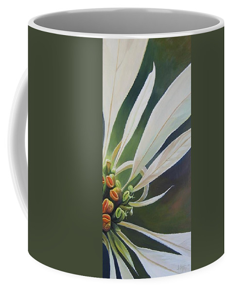 White Poinsettia Coffee Mug featuring the painting Phenomenal World by Hunter Jay
