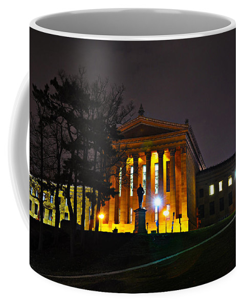 Philadelphia Coffee Mug featuring the photograph Philadelphia Art Museum At Night From The Rear by Bill Cannon