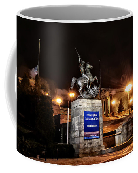 Philadelphia Coffee Mug featuring the photograph Philadelphia Museum Of Art At Night - East Entrance by Bill Cannon