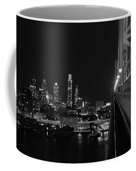 Philadelphia Coffee Mug featuring the photograph Philadelphia Night B/w by Jennifer Ancker