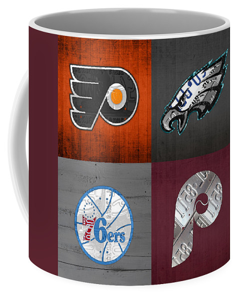Philadelphia Coffee Mug featuring the mixed media Philadelphia Sports Fan Recycled Vintage Pennsylvania License Plate Art Flyers Eagles 76ers Phillies by Design Turnpike