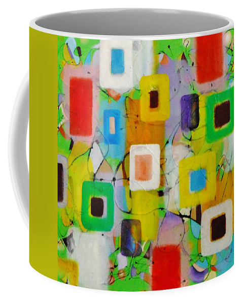 Lines Pastels Corners Squares Musical Original Seagreen Blue Red Sexy Green Yellow Coffee Mug featuring the painting Piano Solo by David Mintz