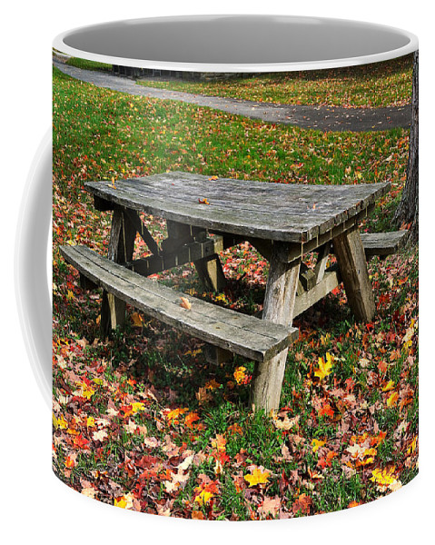 Travel Coffee Mug featuring the photograph Picnic Table In Autumn by Louise Heusinkveld