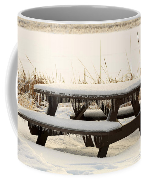 Picnic Coffee Mug featuring the photograph Picnic Table In Winter by Louise Heusinkveld