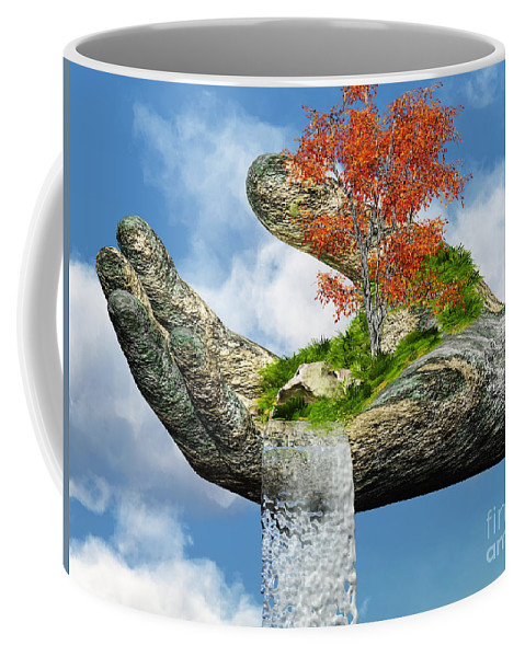 Hand Coffee Mug featuring the digital art Piece Of Nature by Eric Nagel