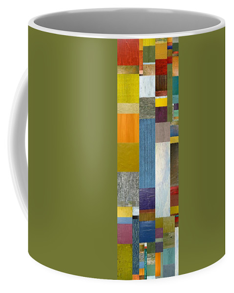 Multicolored Coffee Mug featuring the painting Pieces Parts Ll by Michelle Calkins