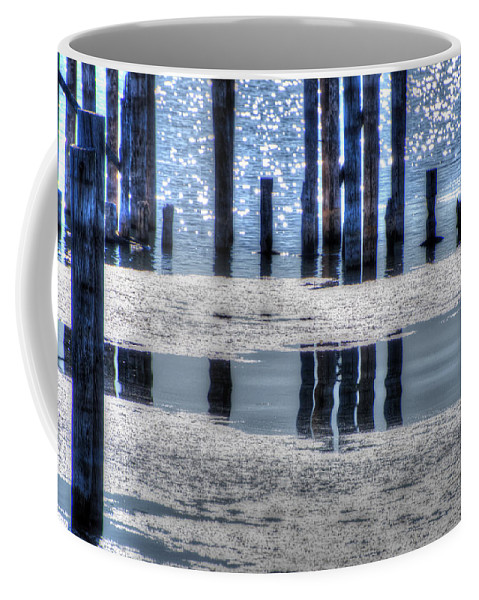 Water Coffee Mug featuring the photograph Pier Reflections by Anita Cumbra