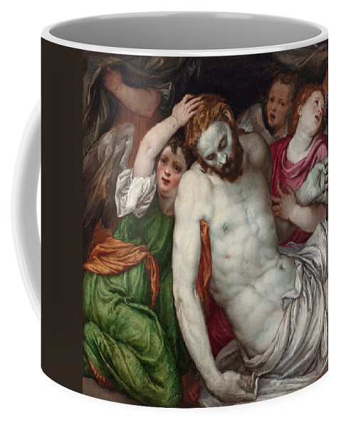 Lambert Sustris Coffee Mug featuring the painting Pieta And Angels by Lambert Sustris