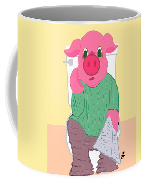 Pig Coffee Mug featuring the drawing Pig On The Hopper by Pharris Art