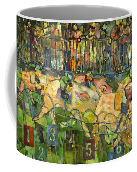 Jen Norton Coffee Mug featuring the painting Pig Racing In Belturbet Ireland by Jen Norton