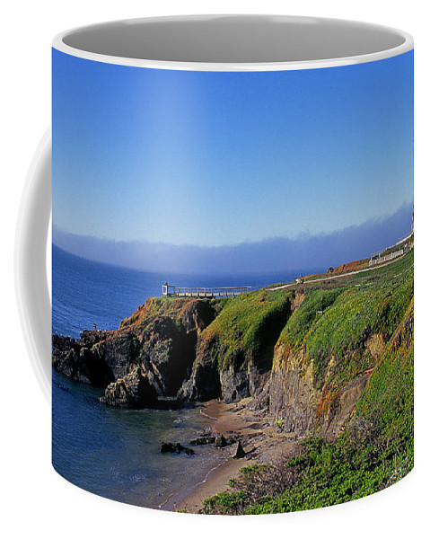 White Picket Fence; Lighthouse lighthouse; California light House West Coast pigeon Point Light pigeon Point Lighthouse highway 1 highway One us Highway 1 northern California Coffee Mug featuring the photograph Pigeon Point Lighthouse by Buddy Mays