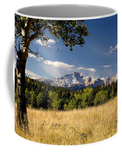 Pikes Peak Coffee Mug featuring the photograph Pikes Peak And Snow by Carol Milisen