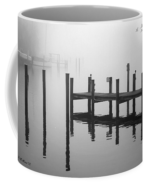 2d Coffee Mug featuring the photograph Pilings In The Fog by Brian Wallace