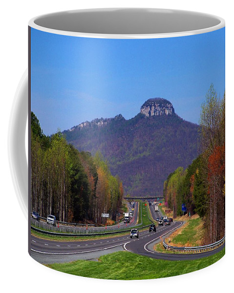 Pilot Coffee Mug featuring the photograph Pilot Mountain From Overlook by Kathryn Meyer