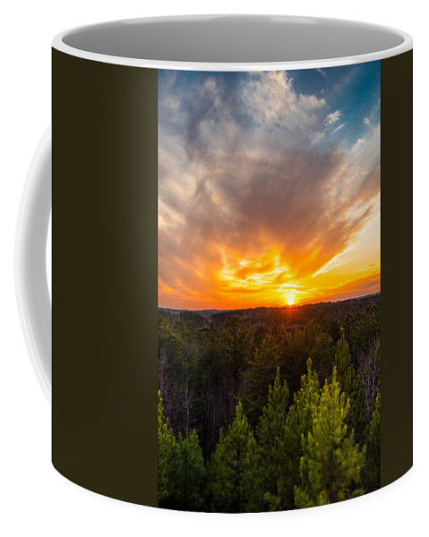 Sunset Coffee Mug featuring the photograph Pine Trees At Sunset by Parker Cunningham