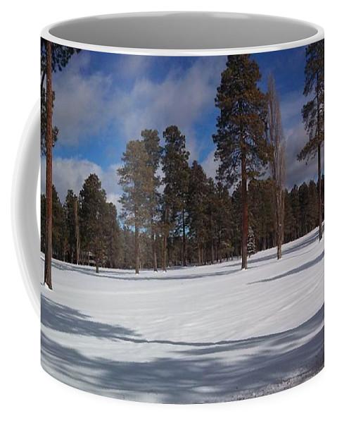Pinetop Coffee Mug featuring the photograph Pinetop Snowfall by Stan Scott