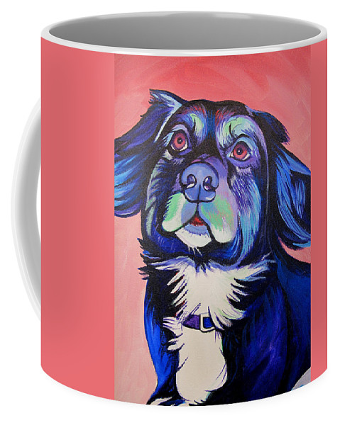 Dog Portraits Coffee Mug featuring the painting Pink And Blue Dog by Joshua Morton