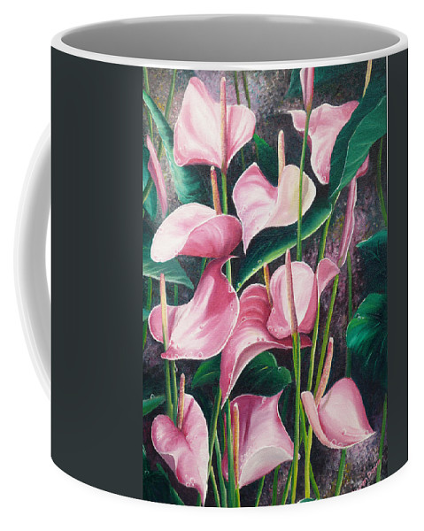 Floral Flowers Lilies Pink Coffee Mug featuring the painting Pink Anthuriums by Karin Dawn Kelshall- Best