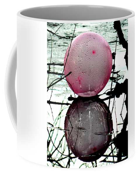 Pink Coffee Mug featuring the photograph Pink Balloon Reflecting by Nicki Bennett