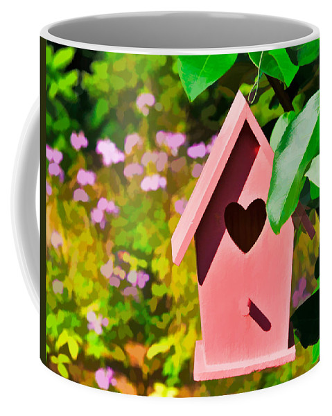 Birdhouse Coffee Mug featuring the photograph Pink Heart Birdhouse by Ginger Wakem