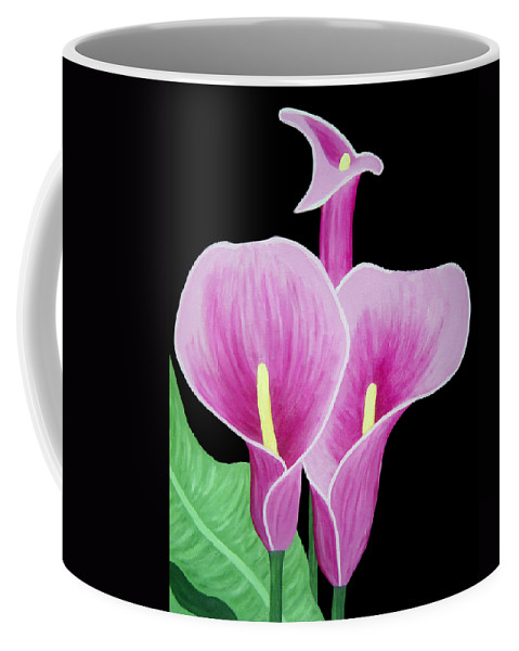 Flowers Coffee Mug featuring the painting Pink Calla Lilies 1 by Angelina Vick