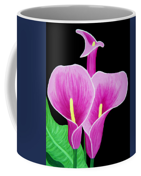 Pink Coffee Mug featuring the painting Pink Calla Lillies 2 by Angelina Vick