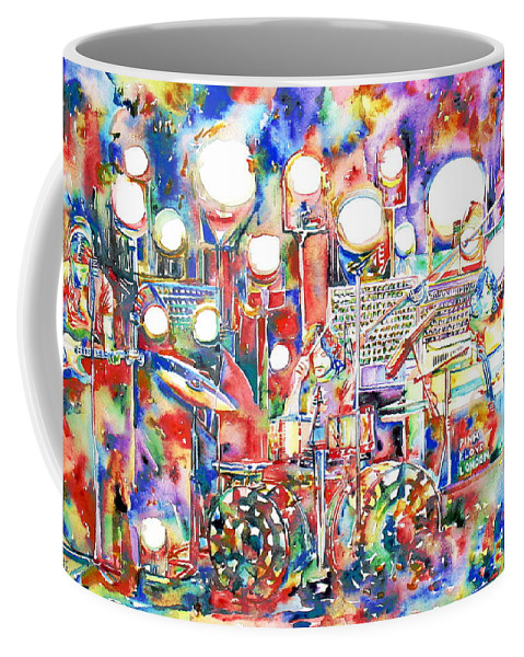 Pink Coffee Mug featuring the painting Pink Floyd Live Concert Watercolor Painting.1 by Fabrizio Cassetta