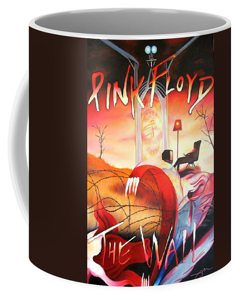 Pink Floyd Coffee Mug featuring the painting Pink Floyd The Wall by Joshua Morton