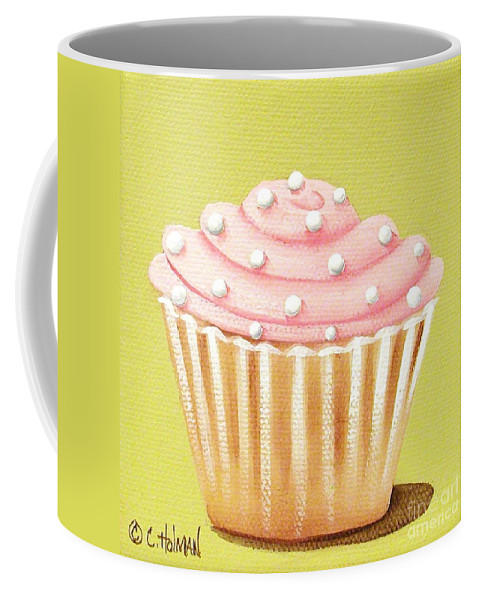 Art Coffee Mug featuring the painting Pink Fluff Cupcake by Catherine Holman