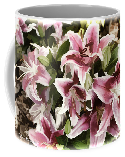 Lily Coffee Mug featuring the photograph Pink Lilies I by Sylvia Thornton