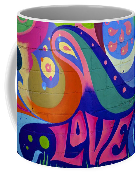 Love Coffee Mug featuring the painting Pink Love Graffiti Nyc 2014 by Joan Reese