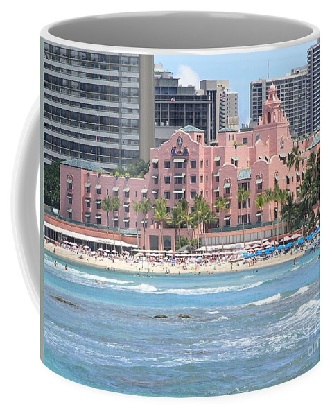 Beach Coffee Mug featuring the photograph Pink Palace On Waikiki Beach by Mary Deal